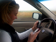 Texting on 2 Cell Phones While Driving
