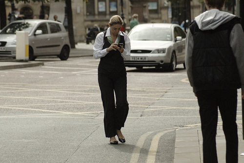 Texting while crossing the street