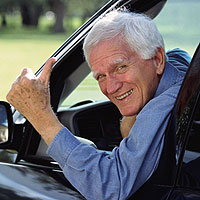 A man poses for a NHTSA driving ad