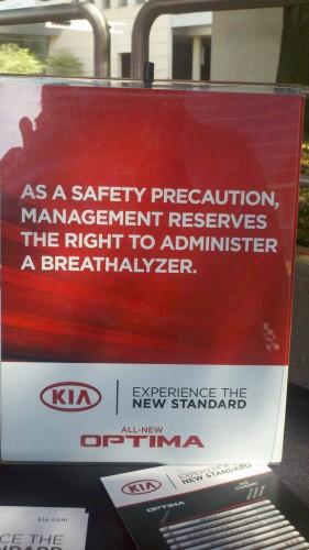 Sign breathalyzer Dallas Auto Show