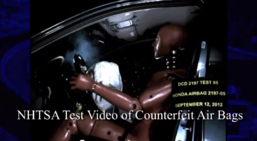 Still shot from YouTube video of testing of fake air bags
