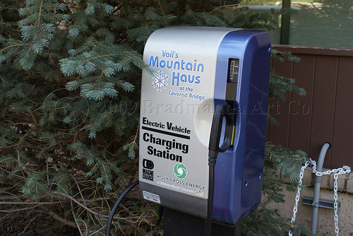Electric car charging station in Colorado