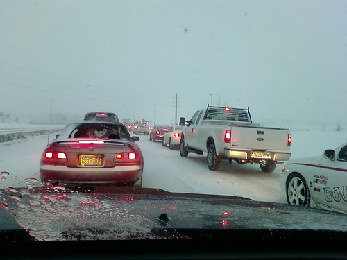 Snowy traffic in Colorado