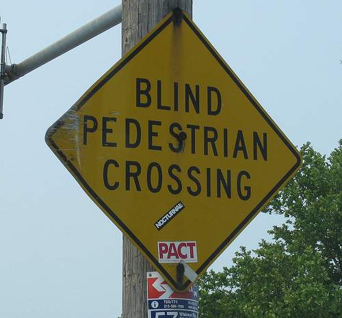Blind Pedestrian Crossing Road Sign