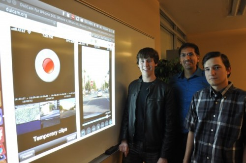 From left, the creators of the DuiCam app: Daniel de Haas, a student, Frank Vahid, a computer science professor, and Timothy Cherney, a student. Photo courtesy of University of California's UCR Today