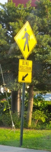 """Blind Pedestrian"" sign in Florida. Photo by Judy Pokras, used with permission."