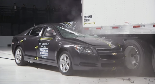 In IIHS test, rear crash guards on truck fail to prevent serious crash