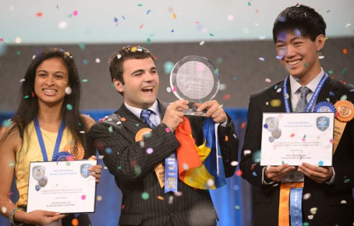 The top three winners of The Intel International Science and Engineering Fair