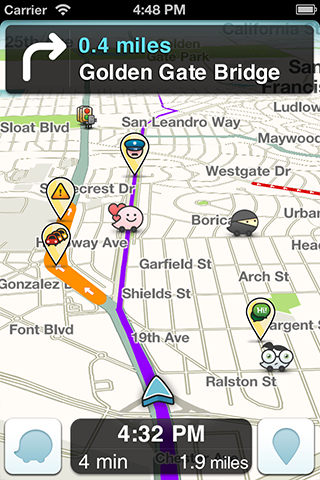 Waze navigation screen showing icons as they pop up during any given drive.