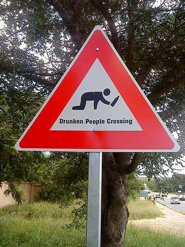 Warning (Drunken People Crossing sign)