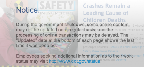 From NHTSA website on Oct. 1, 2013