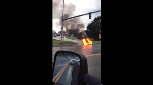 Shot from video of Tesla Model S on Fire