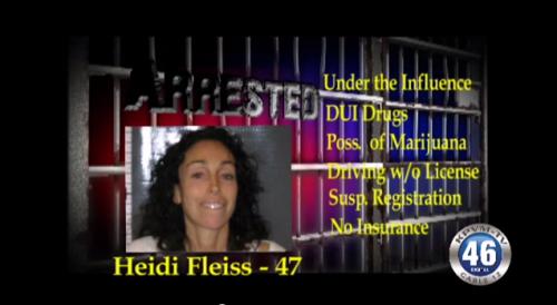 Heidi Fleiss DUI arrest, as appearing on TV news