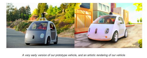 An early version of Google's prototype vehicle and an artistic rendering of the vehicle