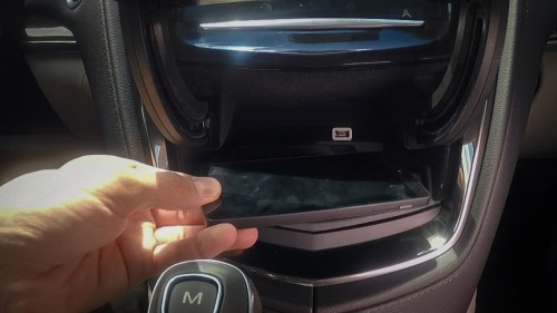 Cadillac Powermat wireless phone charger.