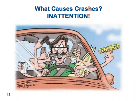 Don't drive while distracted. Illustration courtesy City of Fort Collins