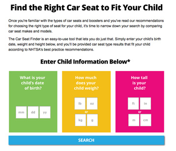 NHTSA's Child Car Seat Finder tool