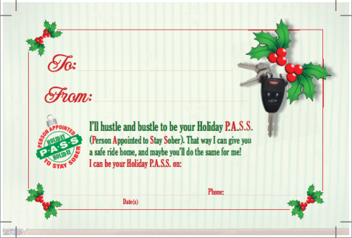 The Sober Driver Gift Certificate card