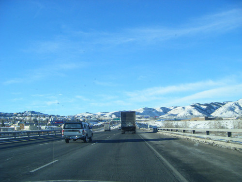 Truck on I-70 in Colorado