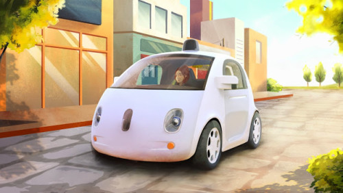 Google Fully Functional Self-Driving Car ; artist's rendering, courtesy of Google