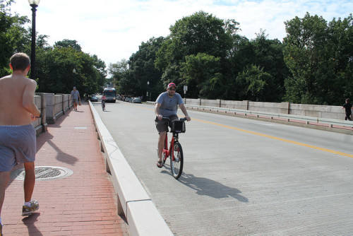 Bicyclists and pedestrians on a public road