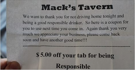 Mack Tavern's Coupon to reward responsible drinkers