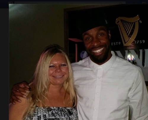 "Mack's Bar Owner, ""Mackenzie"" and her first celebrity customer, , David Bruton of the Denver Broncos"