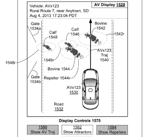 Google's patent shows how its system would help a self-driving car move past cows on the road. Image courtesy: US Patent and Trademark Office