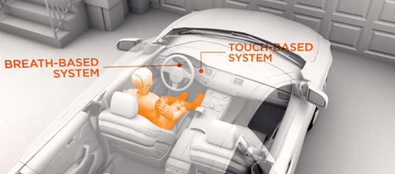 DADSS system to prevent drunk driving; image from DADSS video