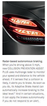 Automatic braking system in Mercedes C Class