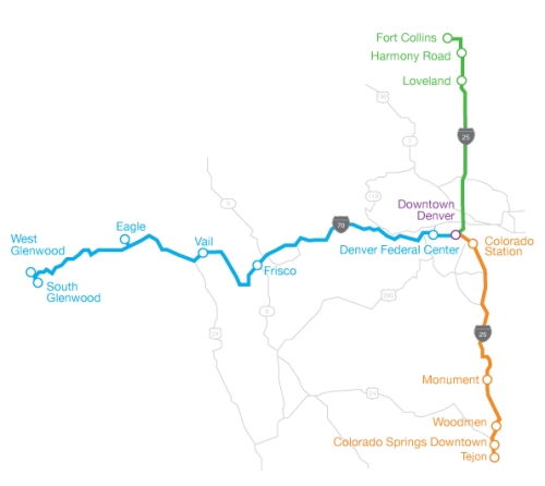 Bustang route map, courtesy CDOT