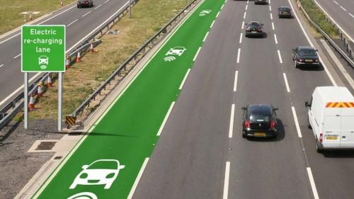 "Image of green lane on left side of multi-lane highway; sign reads ""Electric re-charging lane."""