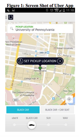 Screen shot of smartphone map used by an Uber driver.