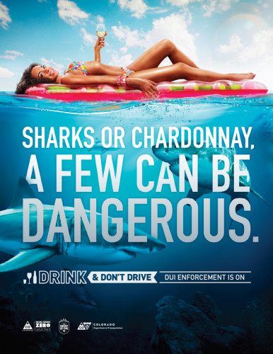 """Photo of woman floating above shark-infested waters; reads """"Sharks or chardonnay, a few can be dangerous"""""""