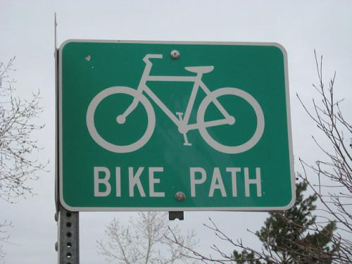Bike path sign in Boulder, Colorado