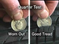 Checking tire treads is a must before driving in perilous winter conditions.