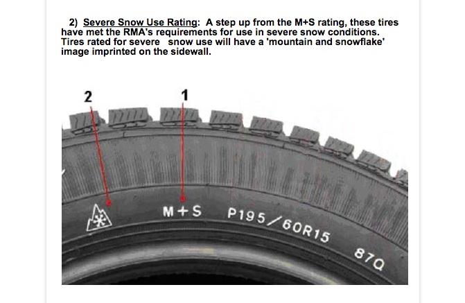 Tires not rated for severe snow use may skid under icy conditions..