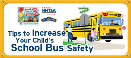 School Bus Safety banner from NHTSA.