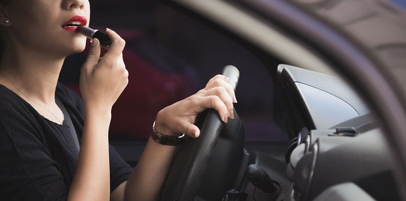 Distracted Driver Risking an Auto Accident
